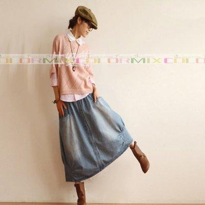 日系 牛仔 半身裙 長裙 牛仔裙 水洗藍 文藝風 牛仔棉 O型裙 單寧 口袋 大裙襬 九分裙 ~ 1594