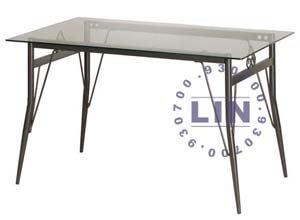 【品特優家具倉儲】R037-02餐桌洽談桌梅心玻璃桌烤黑腳