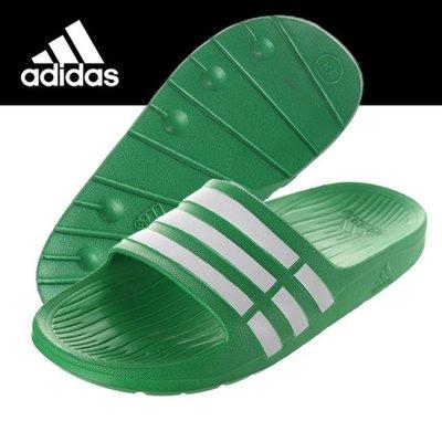 【鞋印良品】adidas 愛迪達 DURAMO SLIDE 綠 白 三條 一體成型 運動 拖鞋 輕量 防水 AF4612