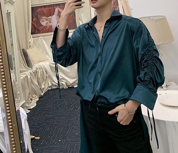 FINDSENSE 品牌 2019 春季 新款 寬鬆  潮流  個性 社會 男青年長袖 絲質 免燙 襯衫 復古 氣質