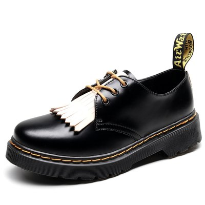 【英爵倫】1461流蘇3孔馬丁鞋女低幫潮 真皮英倫單鞋圓頭時尚學生個性短靴女
