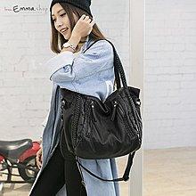 EmmaShop艾購物-經典時尚款-編織洗水仿皮革軟托特包正韓大容量包/斜背包迷你後背包把手方包托特包尼龍媽媽包