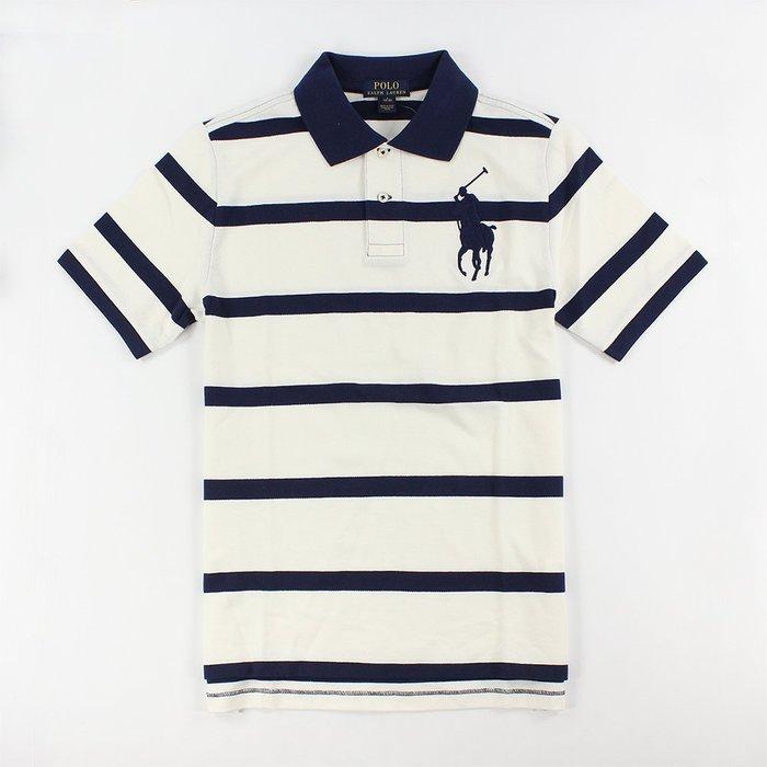 美國百分百【全新真品】Ralph Lauren Polo衫 RL 上衣 短袖 大馬 條紋 米白/深藍 XS號 G634