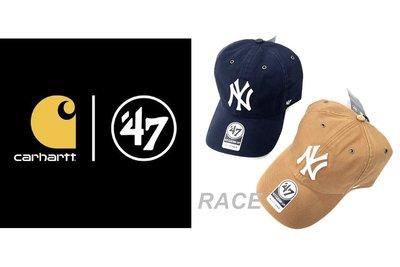 【RACE】47BRAND X CARHARTT 聯名 老帽 棒球帽 刺繡 NY 洋基 工裝 LOGO 土黃 深藍
