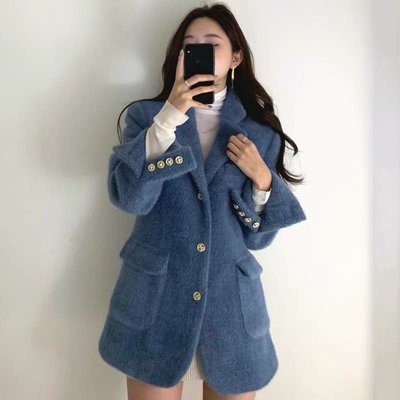 韓國復古西裝外套〰️雙口袋保暖毛呢外套
