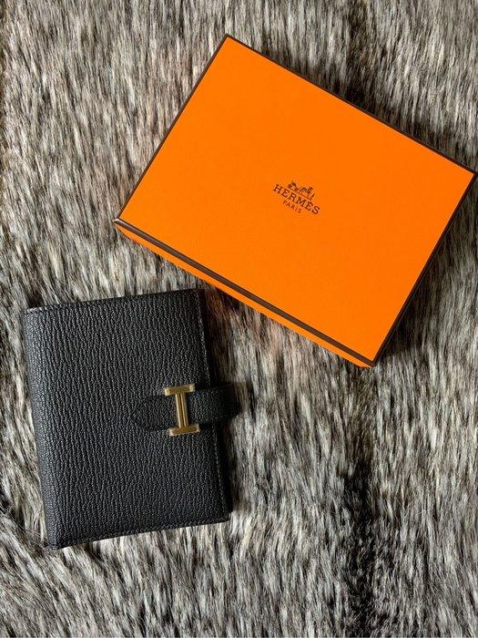 ❌售出❌全新Hermes bearn 黑色金扣短夾