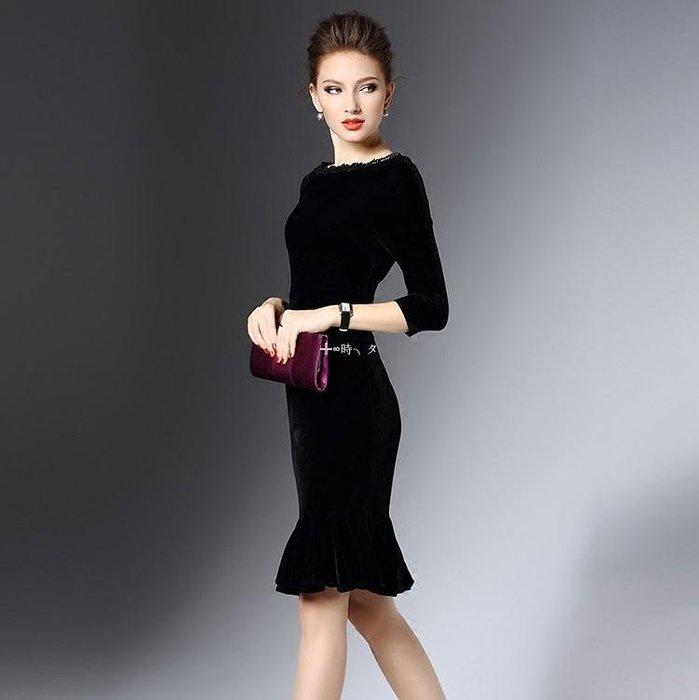 ╬∞時╮タ 金絲絨女裝冬裝百搭潮新款新品潮名媛氣質修身款黑色包臀荷葉邊連衣裙