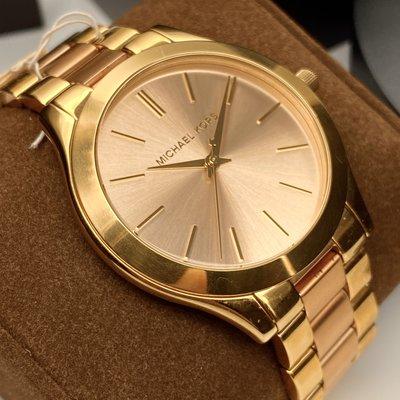 MK邁克科爾斯女錶,編號MK3493,42mm金色圓形精鋼錶殼,玫瑰金色簡約錶面,金色, 玫瑰金色精鋼錶帶款