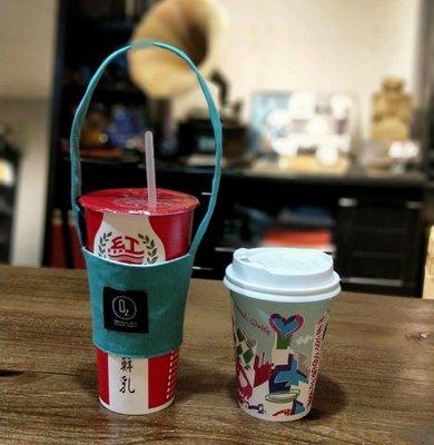 (正妹的店)手作環保飲料袋 咖啡袋 湖藍色