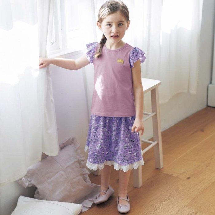 Co媽日本精品代購 預購 日本 迪士尼 公主系列 純綿 蕾絲滾邊 及膝裙 90~140公分
