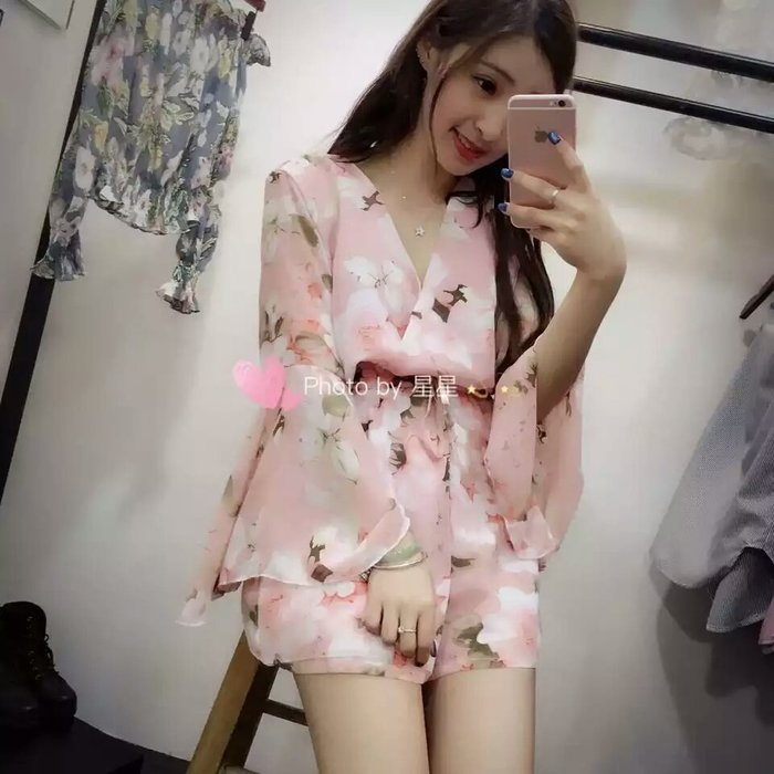 粉紅玫瑰精品屋~韓版時尚碎花雪紡連體褲裝~