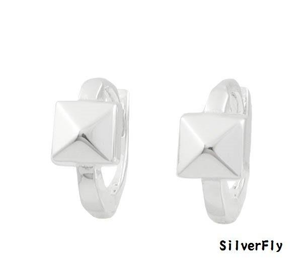 長方形純銀易扣耳環-耳骨款《 SilverFly銀火蟲銀飾 》
