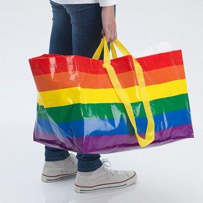 ~水芝丹生活館~IKEA STORSTOMMA 彩虹環保購物袋 手提肩背 購物袋 收納袋 便當袋 午餐袋 行李袋