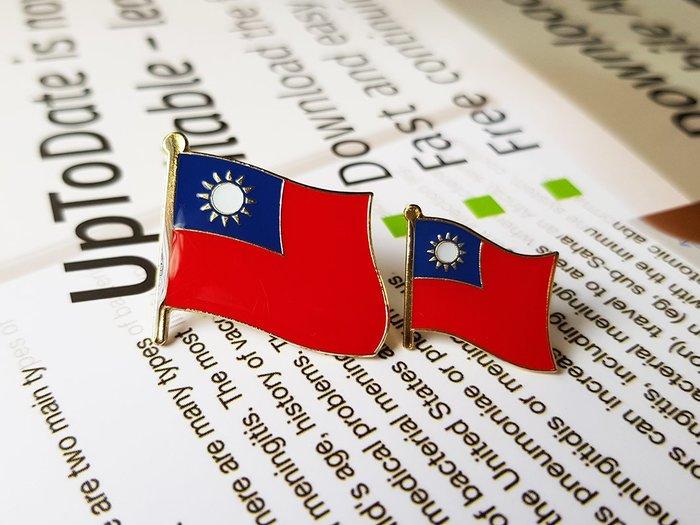 大、小台灣國旗徽章。國旗徽章。大徽章W2.5公分xH2.3公分+小徽章W1.5xH1.5公分。每組2個65元