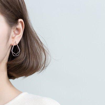韓國飾品館&愛洛奇 s925銀耳環女日系風簡約鏤空不規則五邊形潮流幾何形耳飾