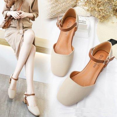 涼鞋 (XDL211-2) 春夏百搭優雅中粗跟好穿包頭涼鞋 34-40