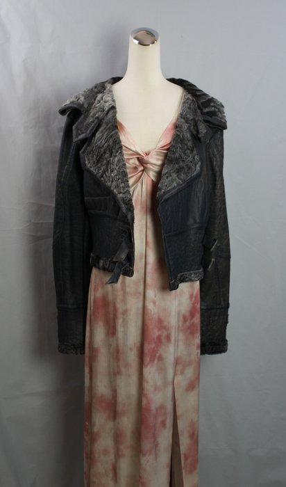 海洋工坊二手名牌旗艦店~Christian Dior 仿舊鐵灰羔羊毛皮夾克