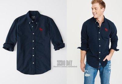 零時差美國時尚網A&F正品Abercrombie&Fitch EXPLODED ICON OXFORD大麋鹿牛津襯衫-藍