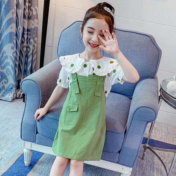 •*~ 辣媽咪衣飾小舖 ~*•❤童裝系列❤K960480韓版大童夏款甜美可愛洋氣翻領短袖上衣+吊帶裙二件套