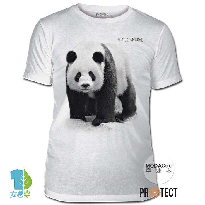 (預購)摩達客-美國The Mountain保育系列 守護熊貓家園白色修身短袖T恤 柔軟舒適高級混紡