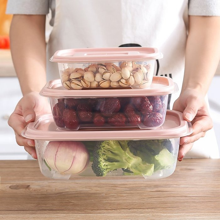 【可可里百貨】廚房帶蓋儲物盒透明塑料盒密封冷藏盒 冰箱長方形食物保鮮收納盒