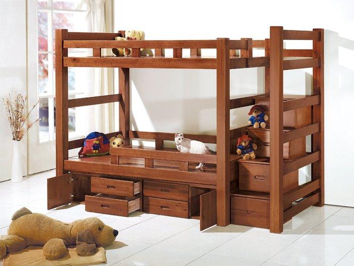 [歐瑞家具]YA171-2布萊德柚木多功能收納雙層床/系統家具/沙發/床墊/茶几/高低櫃/床組/1元起/高品質/最低價