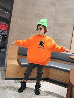 男大童 思家良品童裝 20/11/23冬裝新品115-165公分港風 男童 加絨雙層 寬鬆套頭衛衣 外套 橙色