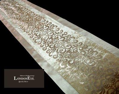 【 LondonEYE 】精品飯店 經典英式風格米白絨/金雙色X 寬版緞X立體絨燙銀 樣品屋床尾旗