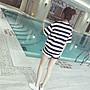 全新轉賣 韓版 寬鬆 學生 條紋 短袖T恤運動短褲套裝
