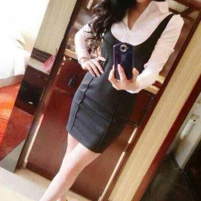 洋裝 #F-041 假兩件襯衫連裙款