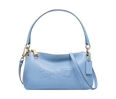 Coco小舖 COACH 33521 EMBOSSED HORSE AND CARRIAGE CHARLEY 水藍色