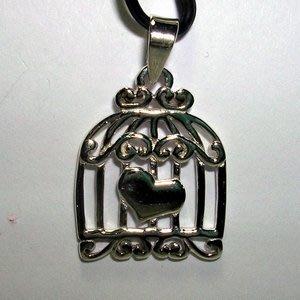 琥珀貓銀飾DIY【925純銀飾品】墜飾~N9989~愛心鳥籠~一個