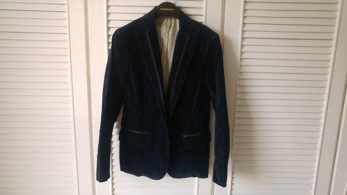 【Takeo kikuchi 】菊池武夫藍黑天鵝絨絲緞領邊劍領西裝上衣