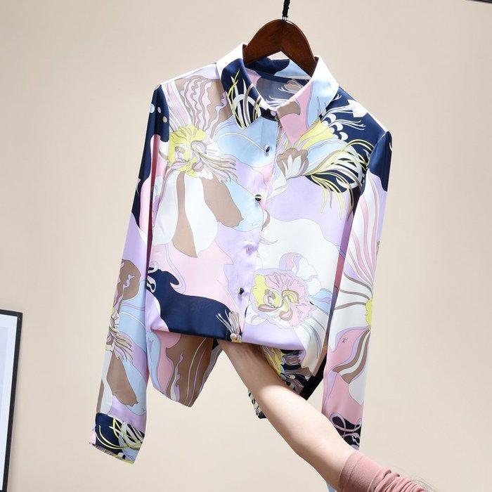 ✿私人定制✿韓版時尚2020春季實拍新款百搭女長袖襯衫洋氣復古印花寬松雪紡碎花上衣 韓國連線非後背包雨衣洋裝