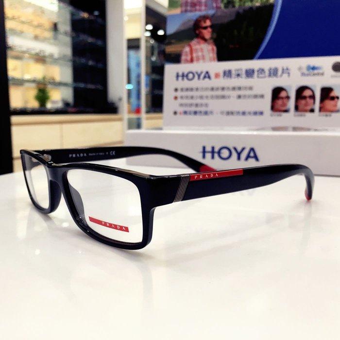 精光堂眼鏡精品 PRADA  經典黑色光學膠框 簡約設計 舒適好配戴 義大利製