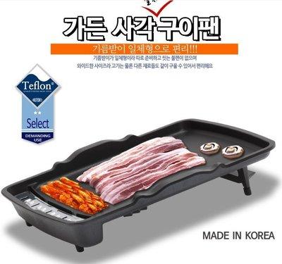 韓國烤肉盤韓國不沾鍋烤盤韓式烤肉無油煙不沾烤盤烤肉必備排油烤盤斜烤盤~大尺寸