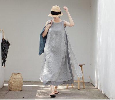 【子芸芳】原著正品 夏季薄款雙層無袖繫繩寬鬆仙氣連衣裙