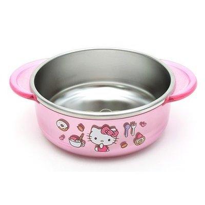 韓國進口 lilfant Kitty 霧面金屬 雙耳防燙 兒童碗 不鏽鋼碗 350ml
