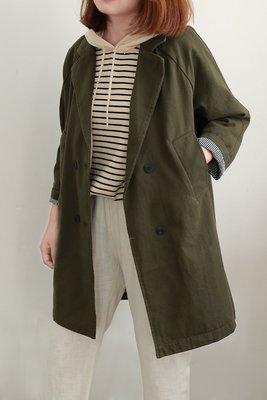 YOYA☆ 秋冬必備經典-日韓氣質西裝式中長款棉質帆布顯瘦軍綠色風衣外套-防風有型不易皺-另有黑色