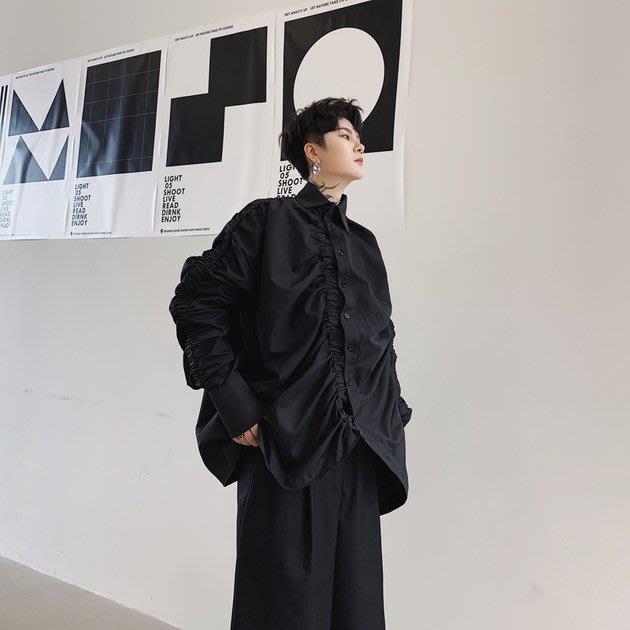 FINDSENSE 2019 秋季上新 G19 暗黑色白山本設計款不規則抽皺個性寬鬆長袖襯衫素面襯衫 男裝 上衣