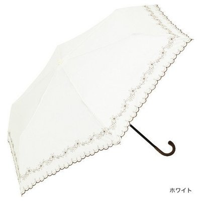 日本because 刺繡花邊手把式雨&晴兩用摺傘