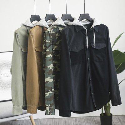 ☆MR☆日系復古雙口袋工裝帥氣連帽長袖襯衫外套(二色)~現貨+預購