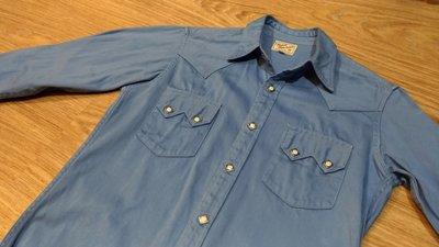 日本製真品The Real McCoy's Moleskin WESTERN SHIRT天藍色厚磅西部牛仔襯衫 珍珠貝扣