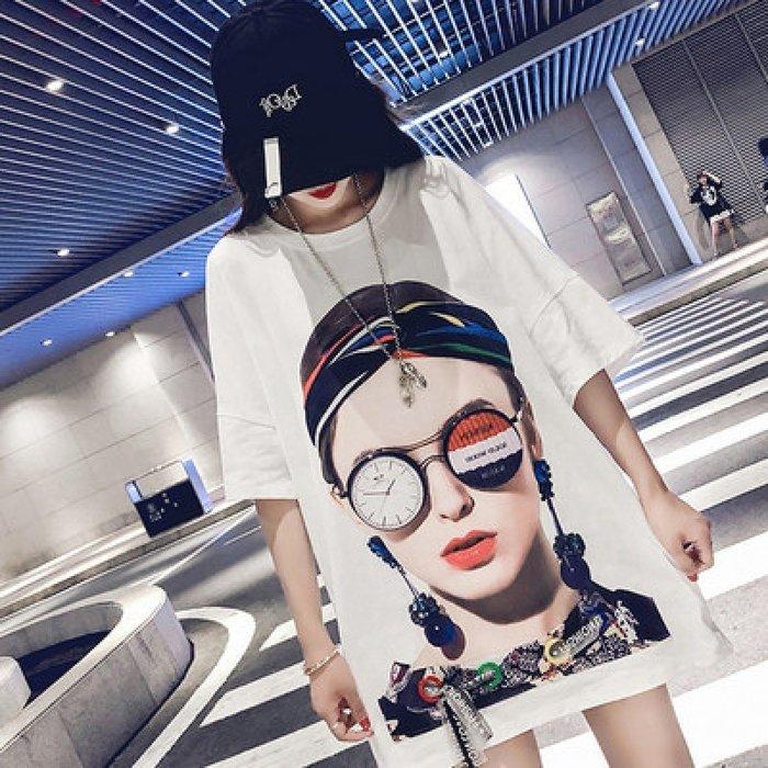 ☆全碼 [吉米花] B-075355 寬鬆女人頭像上衣t恤 ( 白 2XL ) 現貨