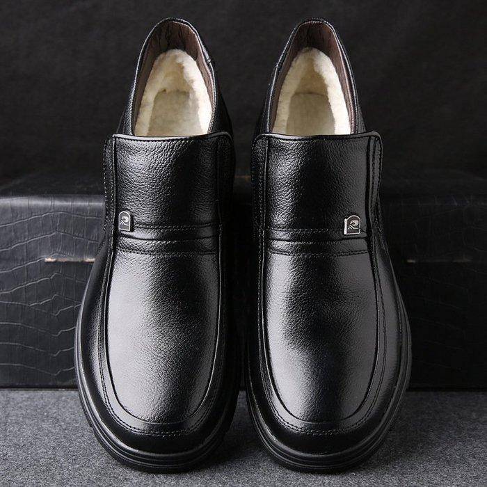 【超優質】棉靴棉鞋男新款休閒套腳真牛皮冬季加絨棉靴超便宜保暖老人爸男士高幫鞋休閒