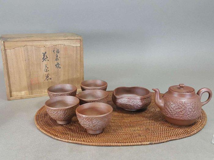 『華寶軒』日本茶道具 昭和初期 備前燒 岩肌紋急須茶海茶杯茶具组