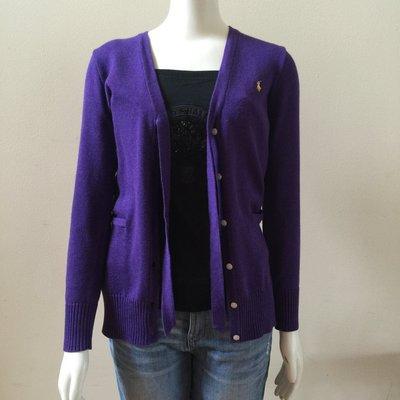 【Polo Ralph Lauren】RL 大女童 針織外套 小馬刺繡 針織毛衣 長版外套 綁蝴蝶結 紫色