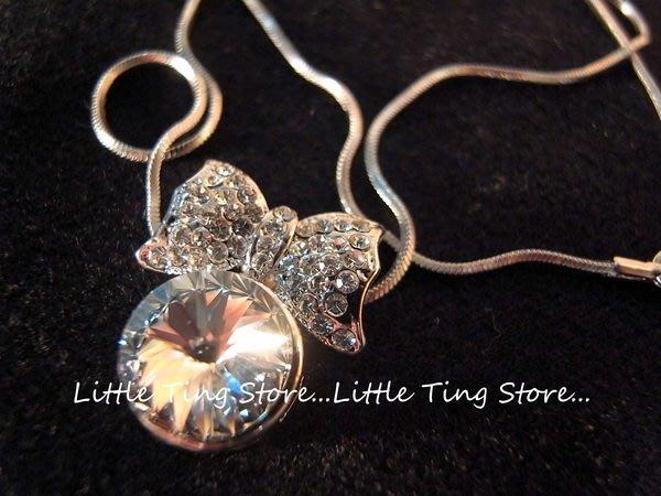 Little Ting Store:韓國單顆大水鑽白鑽水晶鑽蝴蝶結頸鍊鎖骨鏈 短項鍊 生日禮物