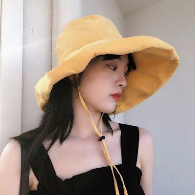 休閑純色大檐漁夫帽子女夏季度假可折疊百搭遮陽帽