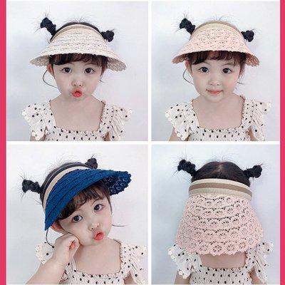 糖衣子輕鬆購【AS0076】韓版防紫外線遮陽帽可愛蕾絲大帽延空頂帽出遊海灘帽